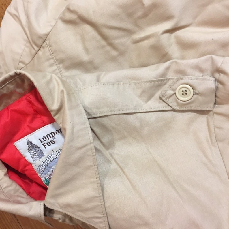 70s LONDON FOG bomber jacket mens size 38 light jacket khaki members only jacket mens small Tan Jacket light Brown NEUTRAL womens medium 38