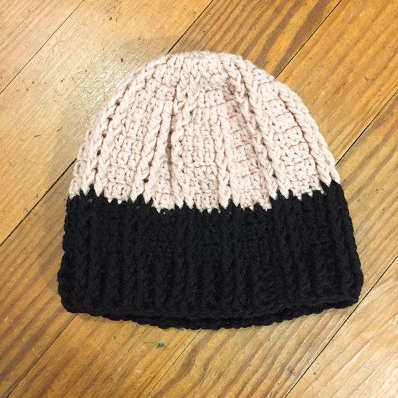 70s Hand Knit Beanie black and peach Toboggan Cap
