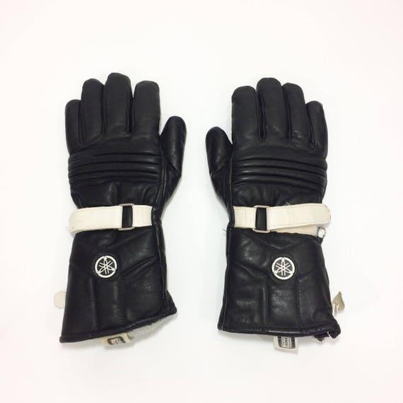 Blue//Black Motorcycle Leather Cowhide Bikers Gloves Motorbike Winter