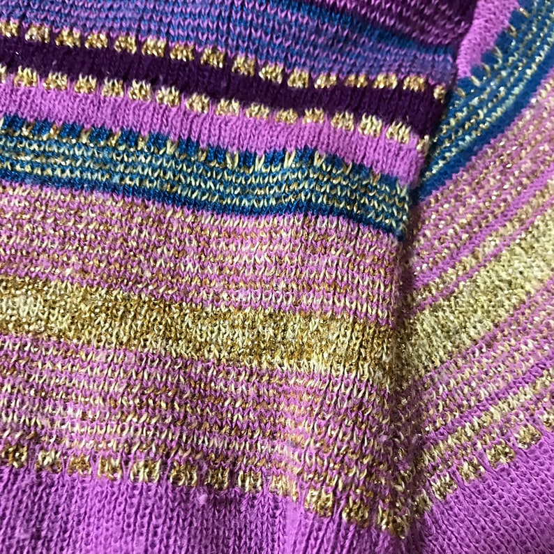 70s METALLIC stretch Sparkle Top GOLD lam\u00e8 stretchy Xs Cropped thin Sweater Top Tight Womens small medium PURPLE striped long sleeve shirt
