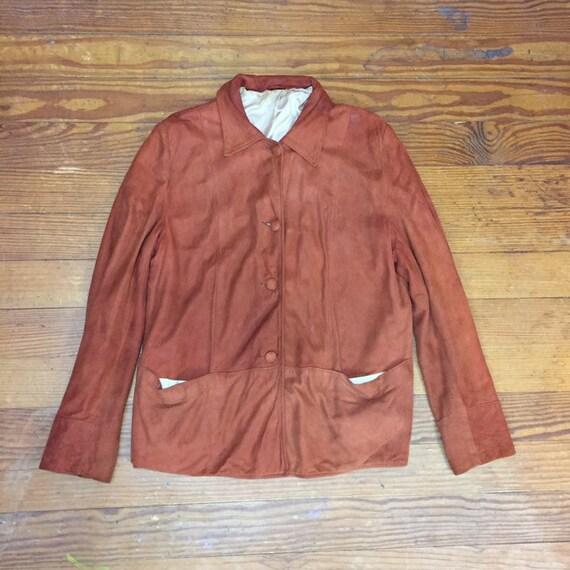 40s Suede Jacket Mens Medium 42 distressed leather