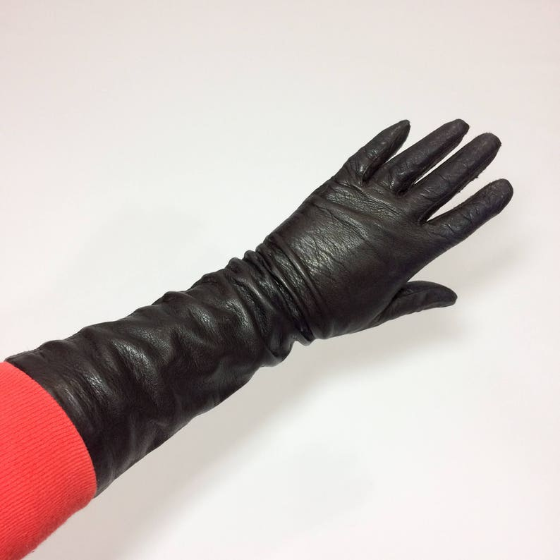 50s SILK lined leather gloves Long Gloves Womens Small size 7 Winter Gloves Feminine Lady Like Opera Gloves Retro Mod Vintage driving gloves
