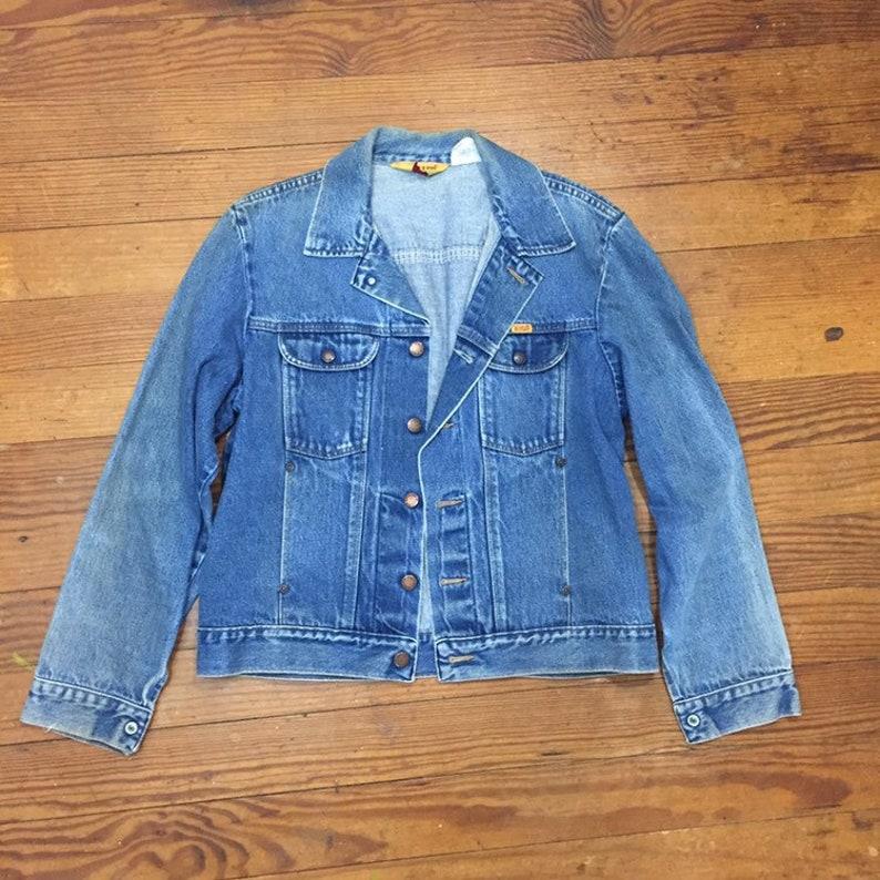 80s FADED Denim Mens Jean Jacket Medium Large Cuffed Rockabilly LONG Sleeve Jacket Womens oversized Boyfriend jacket Rustler wrangler denim