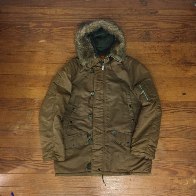 4eeffdf3b 70s Bomber Jacket Insulated coat lightweight Mens large RETRO brown furry  hooded coat lined pilot jacket puffy faux fur streetwear