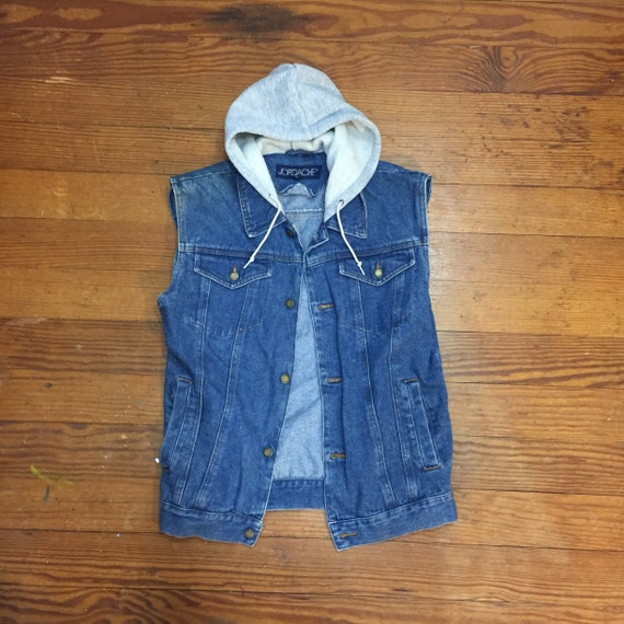 2019 professional Super discount sale usa online 80s Denim Hoodie Vest Dark Wash jean Vest womens small boyfriend denim vest  hooded streetwear denim sleeveless jacket LAYERS mens xs