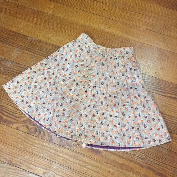 60s CORDUROY Mini Skirt size 27 High Waist swing … - image 7