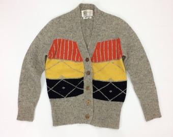 sale 80s WOOL Cardigan Sweater Womens Medium Button Down Sweater Cardigan Striped Pop Art colorful striped Kitschy retro knit jumper woolen