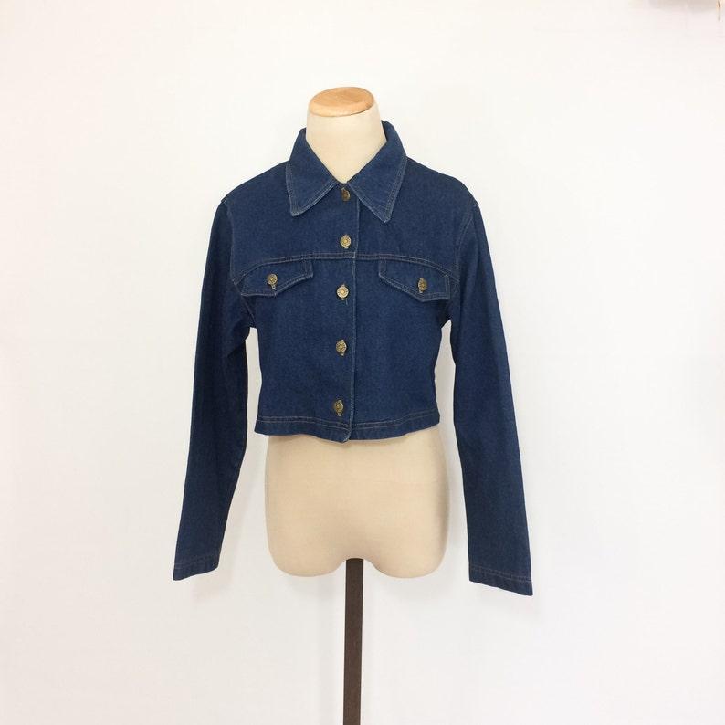 90s RAMPAGE Cropped Jean Jacket Dark Wash Denim Jacket Xs Small Medium Womens Denim Jacket CROP Jean Jacket Tight Fitted Jean Jacket