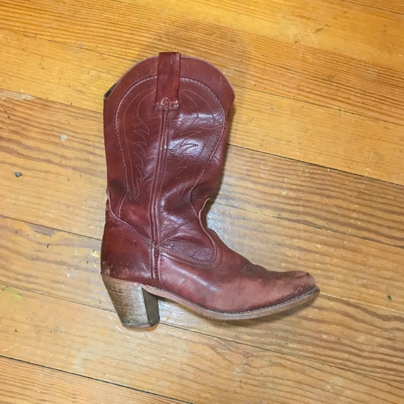 70s RED leather cowboy boots mens 8.5 womens size