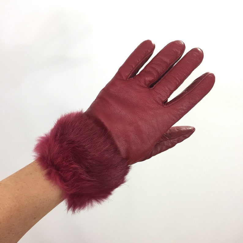 f9128abc8 90s FUR trimmed leather Gloves RED Winter Gloves Womens Small | Etsy