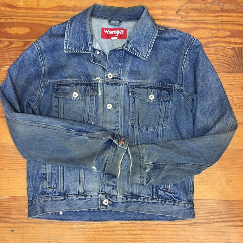 80s thrashed Denim jacket Mens Jean Jacket Large Cuffed Rockabilly Extra LONG Sleeve Jacket Womens oversized Boyfriend wrangler greaser Usa