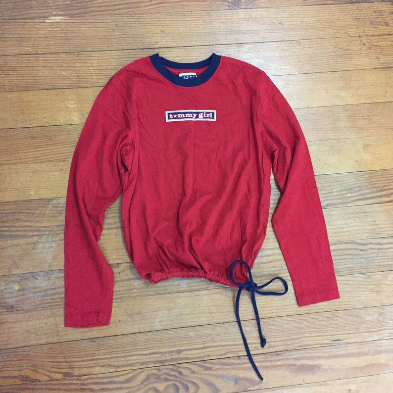 55fbd561c581e9 90s TOMMY Hilfiger Shirt Womens Small Medium red Long Sleeve