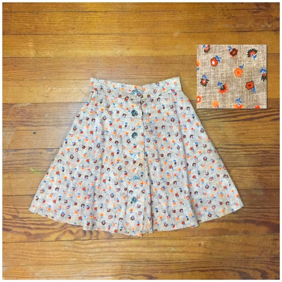 60s CORDUROY Mini Skirt size 27 High Waist swing … - image 1
