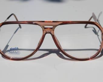 5acd8fb8788c sporty vintage men s eyeglasses frames SAFILO ELASTA SPORTING 59-12 145  transparent honey brown double bridge aviator made in Italy New