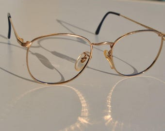 27cbdfa9544 Rare! wonderful gold plated vintage men s women s eyeglasses frames LINEA  DANTE 53-18 almost round adorned P3 made in Italy New