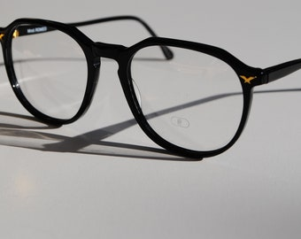 f65590654d023 black panto style vintage eyeglasses frames LINEA ROMANA Mod. ROMEO 52-18  made in Italy New