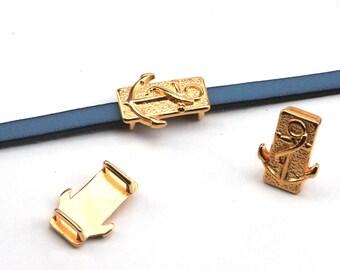 3x Zamak Schiebeperle Herz gold Schmuckelement Leder Bänder ID 5x2mm