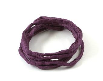 1m handgefärbtes Habotai-Seidenband grape 3mm Seidenschnur 100/% Seide