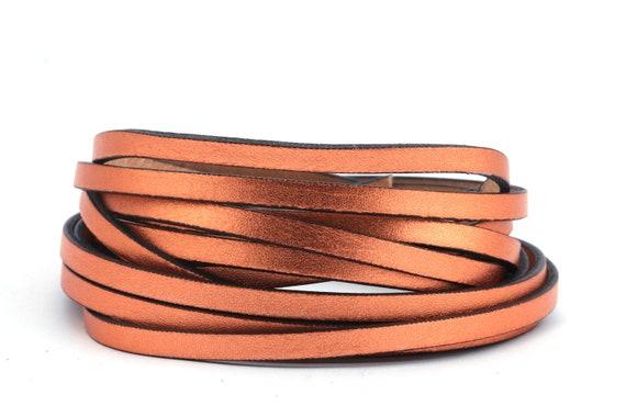 Flaches Lederband Vintage Beige schwarzer Rand 5x2mm Hochwertiges Rindleder