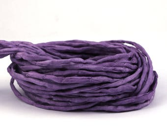 Hand-dyed silk Habotai band lilac, ø3mm | Silk cord - 100% pure silk - H3M20234U