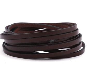 Flat leather strap Cacaobraun (black Edge), 5 mm 2 | High-quality calf leather 1 m / 2 m / 3 m