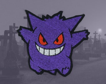 0c43c468905d2 Gengar - Iron on patch - Shiny Metallic Embroidered. Pokemon patch.