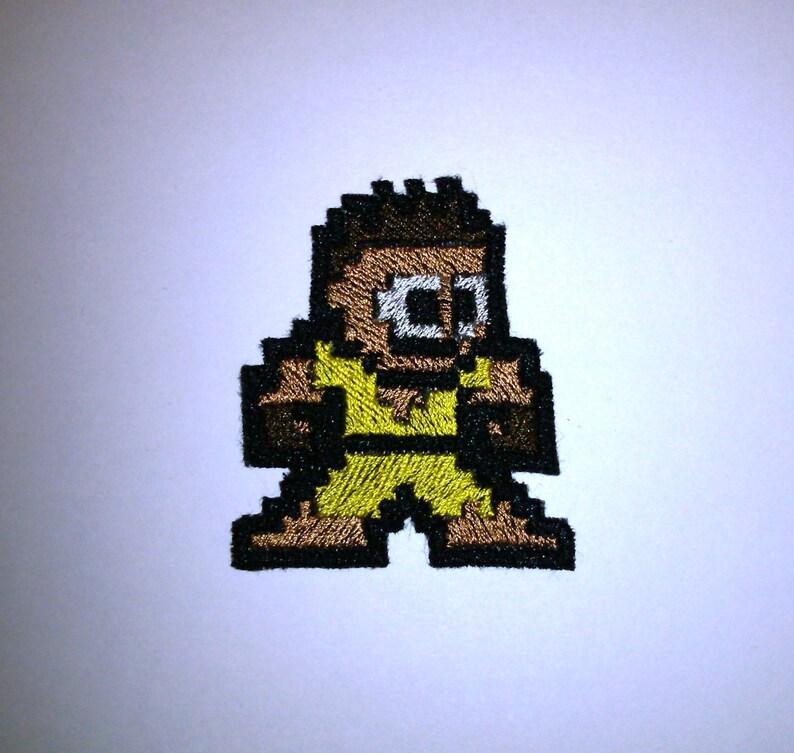 Pixel art Street Fighter Sean Shiny Metallic Embroidery Iron On patch
