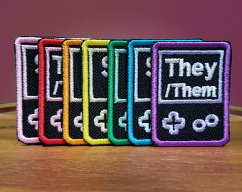 Handheld pronoun patches -  Multiple colors available! - Shiny Metallic Embroidery Iron On patch.