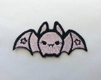 Evil bat with stars - Pastel pink - Shiny Kawaii Fairy Kei Iron on patch