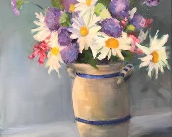 Summer Flowers in antique crock