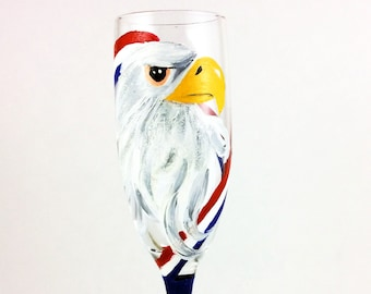 Champagne Flute, Champagne Glasses, 4th of July Decor, Unique Glassware, Patriotic Gifts, American Eagle, Toasting Flutes, Eagle Decor