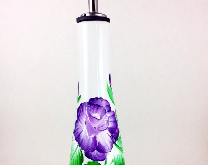 "Olive Oil bottles, Hand painted Olive Oil dispenser, 11"" High with spout"