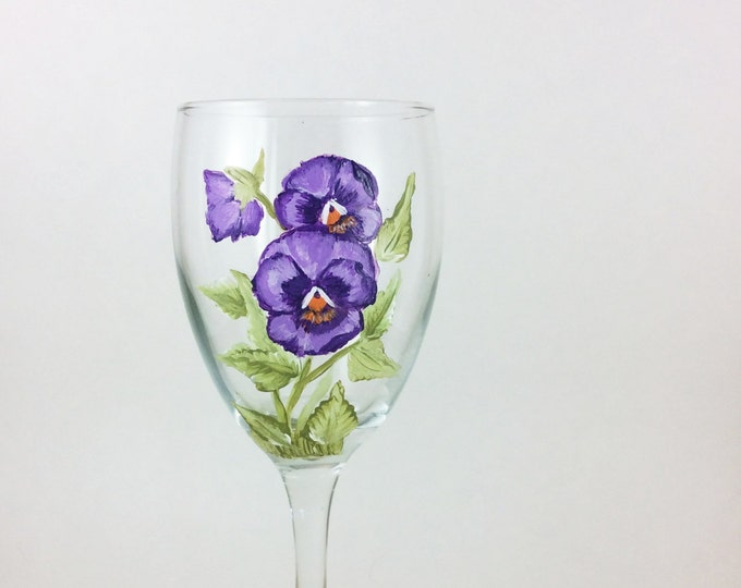Pansy wine glasses, hand painted flower wine glasses, 10.25oz.