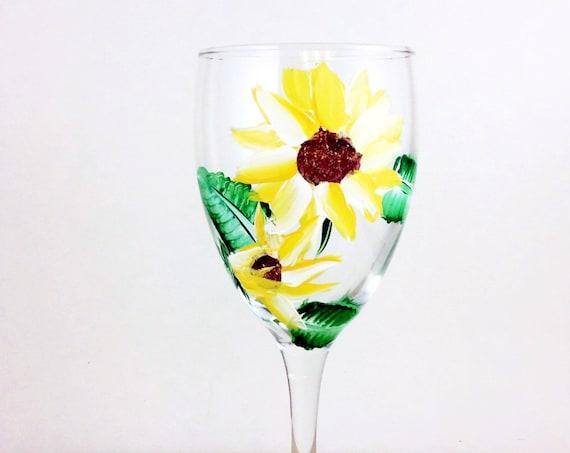 Hand Painted Sunflower wine glasses, 10.25 oz.