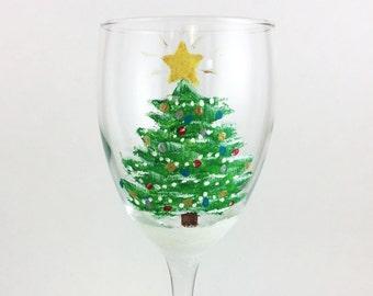Hand Painted Christmas wine glass, Christmas tree wine glass 10.25oz.