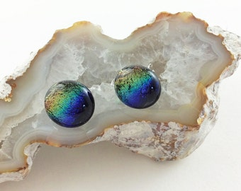 Rainbow Earrings, Post Earrings, fashion Earrings, rainbow jewelry, Dichroic earrings, jewlery, jewlry, Custom jewelry, Gift for mom