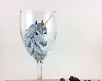 Unicorn Wine glasses, Hand painted Unicorn wine glasses, 10.25oz.