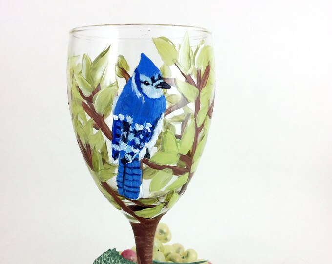 Blue Jay wine glasses, Hand painted Blue Jay wine glasses, 10.25oz.