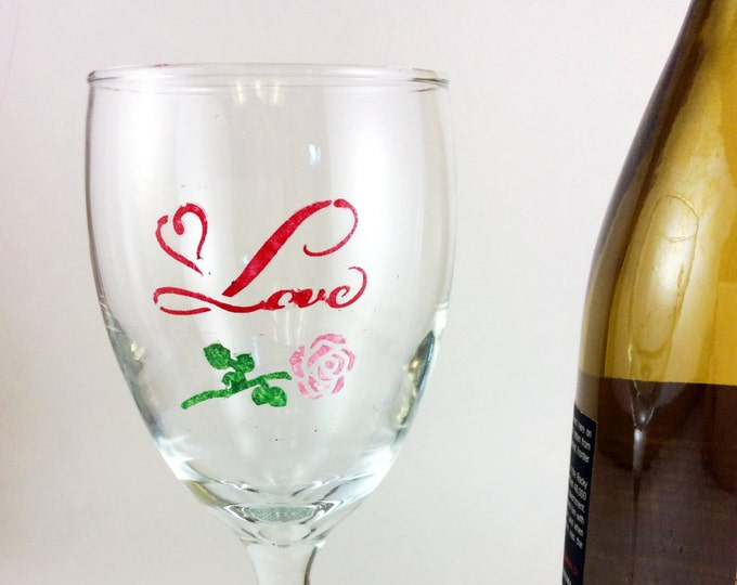 Wedding or Anniversary wine glass, Hand painted wine glass, 10.25oz. Limited glasses