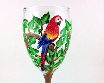 Parrot Wine Glass, Hand painted Parrot, 10.25oz wine glass