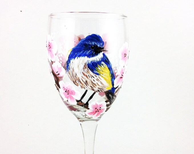 Bird Finch wine glass - holds 10.25 oz. hand painted wine glass