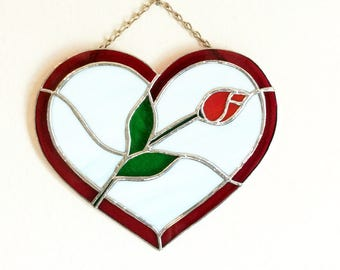 Stained Glass Heart, Glass Heart,  Anniversary Gift, Valentines Gift, Sweetheart Gift, Wedding Gift, Tiffany Style, Valentines Ideas