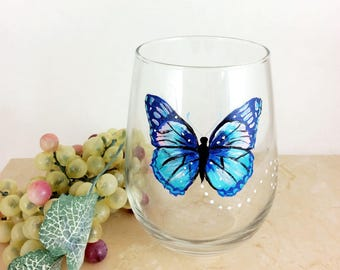 Butterfly wine glass, stemless wine glass, butterfly home decor, Best wine gift, Gift idea for mom, housewarming gifts, Drinking Glasses