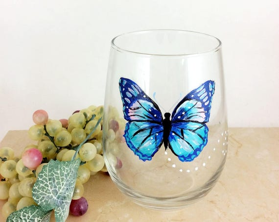 Butterfly Stemless wine glass, Hand painted Butterfly wine glass, 17oz, Drinking glass