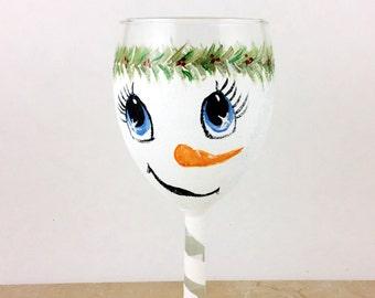 Snowman wine glass, Hand painted snowman wine glass, 10.25oz glass
