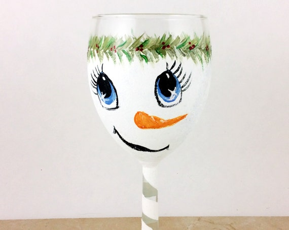 Snowman wine glass, Hand painted snowman wine glass, 10.25oz glass