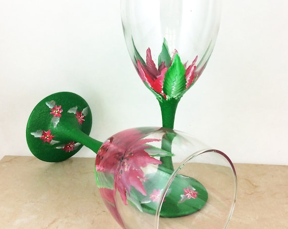 poinsettia  Wine Glasses,  Christmas flower wine glasses, Hand painted 10.25oz. gift for, Christmas gift,