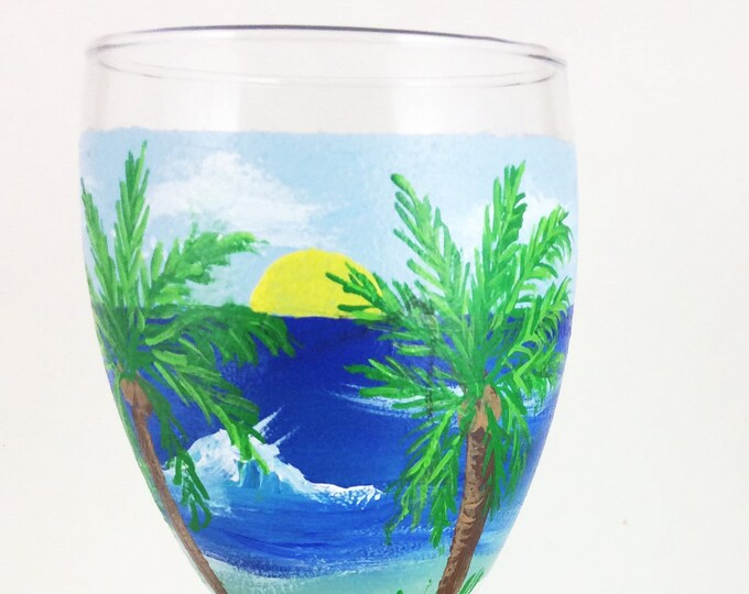 Hand painted glass, Wine lover Gifts, Ocean lover gift, Beach theme decor, Best friend gift, Painted wine glasses, Ocean beach decor,