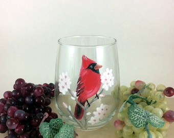 Red Cardinal Stemless Wine glass, Hand painted stemless wine glass, 17oz.