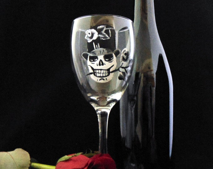 Skull wine glasses, Día de los Muertos, Day of the dead, 10.25oz wine glasses